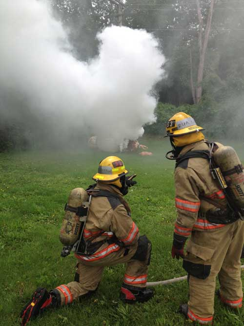 Smoke candles used in a fire training scenario