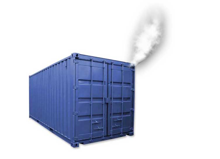 Smoke testing is an easy way to find leaks in shipping containers